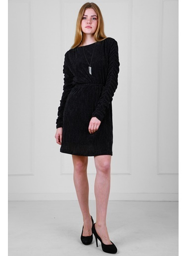JEANNE D'ARC Parlak Kumaş Belden Lastikli Kolu Büzgülü Elbise  Siyah